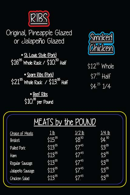 It's Ribs - Meats by the Pound Menu